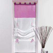 Decoline - Un store droit à passant - rideau voile bicolore blanc / aubergine 60 x 180 cm