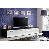 Asm-mdlt - Grand meuble Tv Duo 200x35x45 cm - blanc et noir de haute brillance