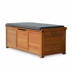 alice 39 s garden coffre de jardin en bois caja 125x60cm rangement coussins avec v rin et. Black Bedroom Furniture Sets. Home Design Ideas