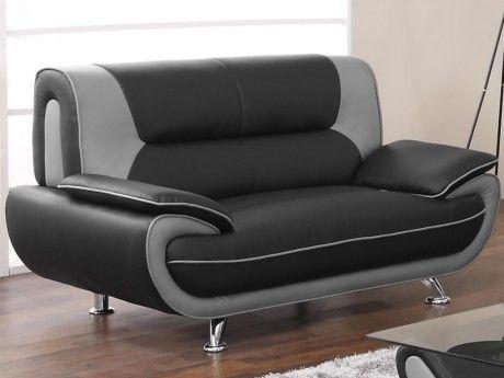 Canapé 2 places en simili NIGEL - Bicolore noir et gris