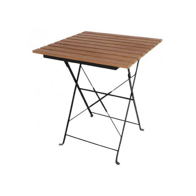 Materiel Chr Pro Table bistro imitation bois carrée Bolero 600 mm - Bois clair