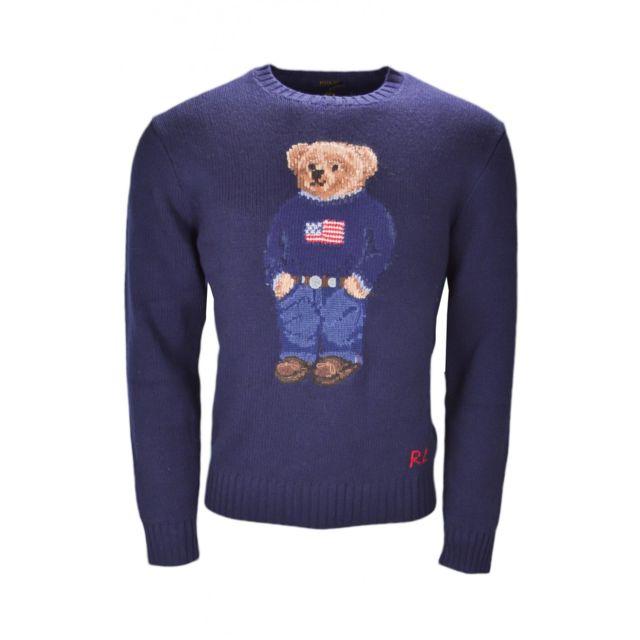 50d3672a3d22 Ralph Lauren - Pull col rond iconique Bear bleu marine pour homme - pas  cher Achat   Vente Pull homme - RueDuCommerce
