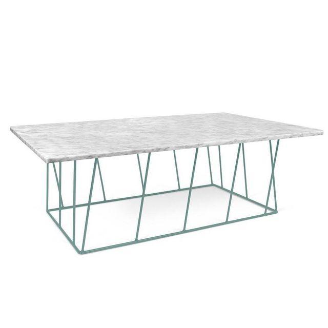 Inside 75 Tema Home Table basse Helix 120 en marbre blanc et structure laquée verte