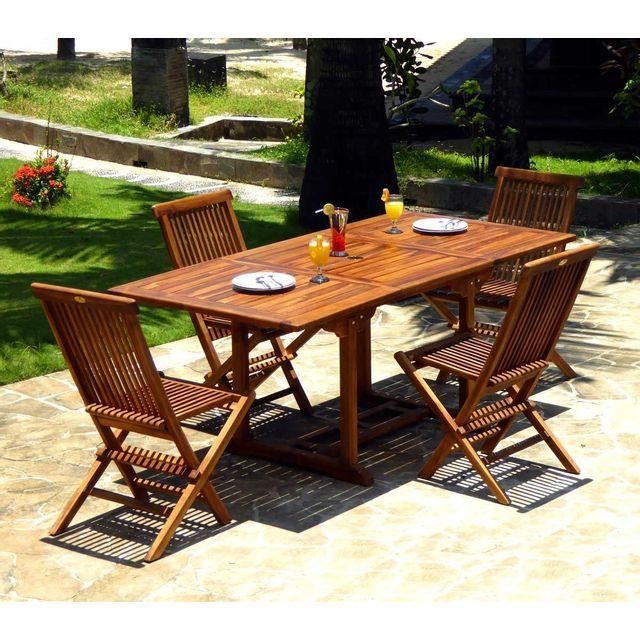 Wood En Stock salon en teck huilé de jardin 4 à 8 places table 120-180 cm