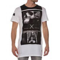 Religion clothing - T-shirt blanc squelette oversize zippé