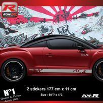 Run-R Stickers - Sticker bas de caisse Peugeot Rcz aufkleber - Argent - Adnauto