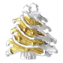 Sochicbijoux - So Chic Bijoux © Charm Perle Arbre Sapin de Noël Plaqué Or & Argent 925 - Compatible Pandora, Trollbeads, Chamilia, Biagi