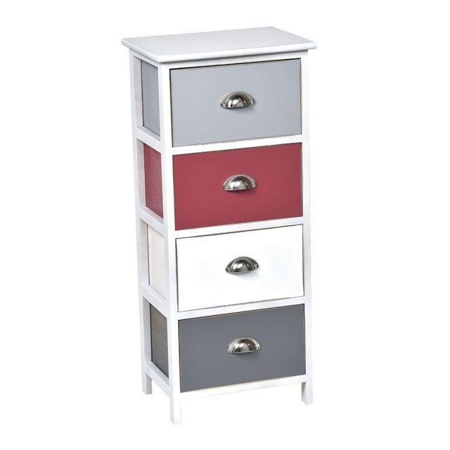 Tendance meuble 4 tiroirs vieilli rouge blanc gris - Meuble blanc vieilli ...