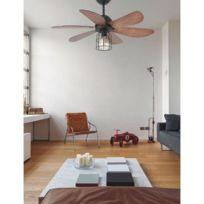 Faro - Ventilateur de plafond avec Lampe Chicago 91cm Noir Noyer 33703