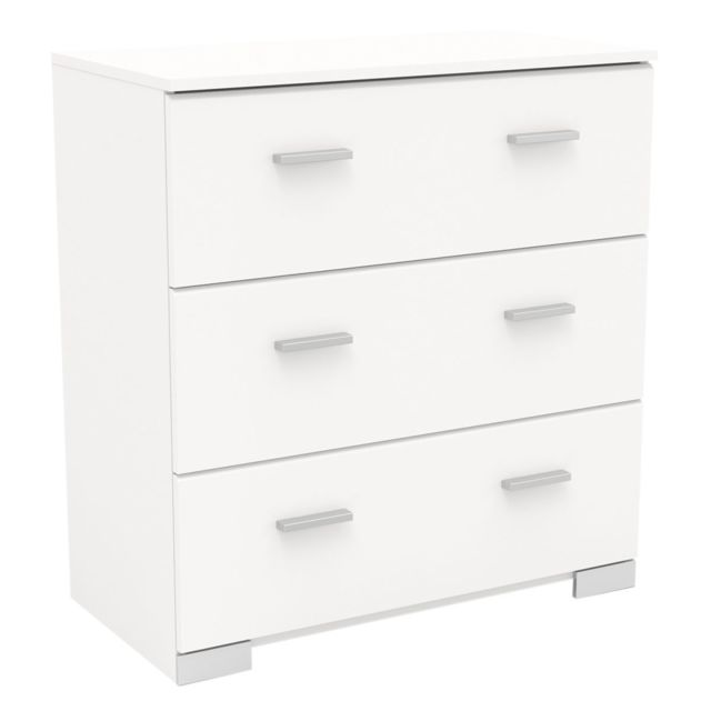 Altobuy Jupiter Blanc - Commode 3 Tiroirs