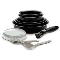 Ideo battrinox Set de poêles et casseroles avec poignée amovible Set 10 Pièces Noir Tous feux dont induction