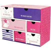 Promobo - Boite A Souvenirs Mini Armoire De Rangement Premiere Fois Etoiles Rose