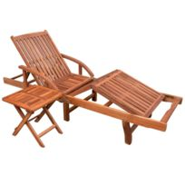 chaise longue fixe bois exterieur