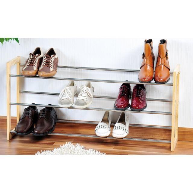 range chaussures extensible 3 niveaux jusqu 39 18 paires bois et argent pas cher achat. Black Bedroom Furniture Sets. Home Design Ideas
