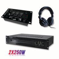 Ibiza Sound - Pack sonorisation amplificateur 500W Sa500 + Table de mixage 3 voies 5 entrées + Casque