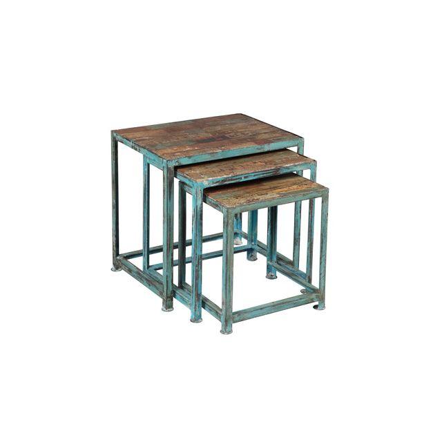 Ensemble de 3 tables gigognes en acier vieilli Atelier Metal