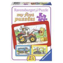 Ravensburger - Puzzles 3 x 6 pièces : Véhicules : Tracteur, Pelleteuse et Camion