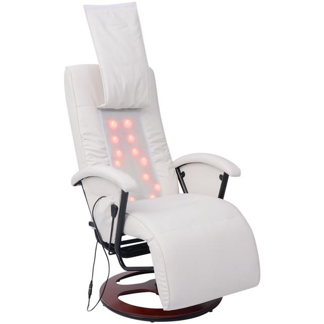 Vidaxl Fauteuil de massage Shiatsu Demi Pu Blanc