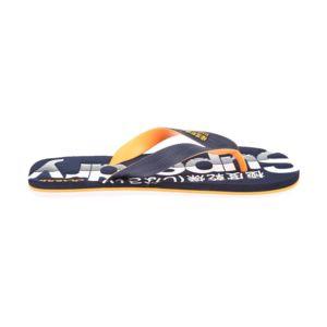 Superdry - Tongs Scuba Flip Flop bleu marine floquées en blanc et orange