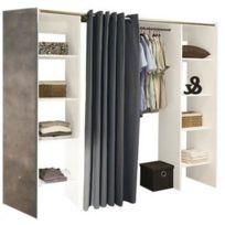 Inside 75 - Dressing extensible Chica 2 colonnes blanc / béton avec rideau anthracite