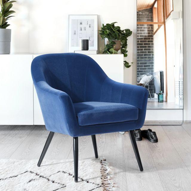 Mobilia Fauteuil bleu velours bois
