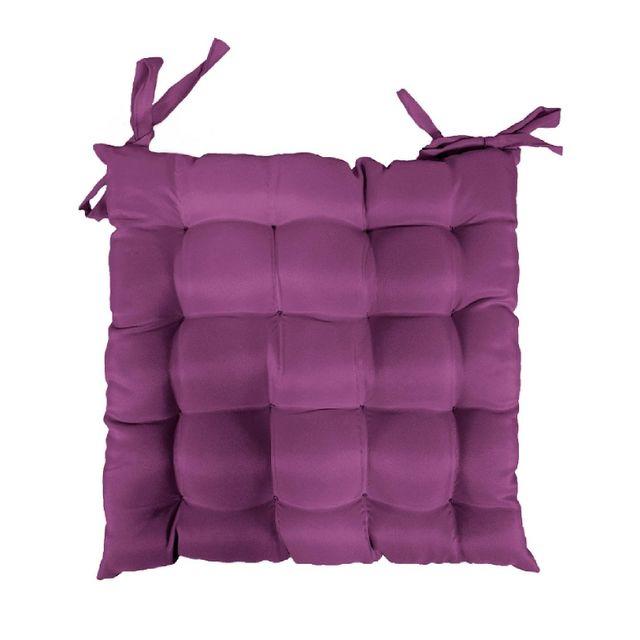 Douceur D'INTERIEUR Coussin galette de chaise 40 x 40 cm prune