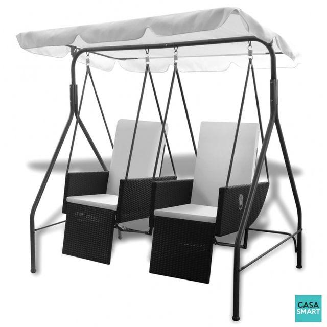 Casasmart Balancelle noire 2 places avec fauteuils inclinables en ploryrotin