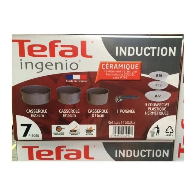 Tefal Casserole sans poignée Céramique Tous Feux dont Induction 22 cm L2511602 Ingenio