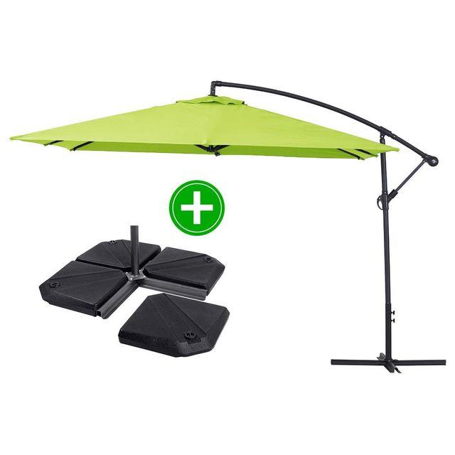 habitat et jardin parasol jardin d port alu ilios 3 carr 3 x 3 m vert dalles. Black Bedroom Furniture Sets. Home Design Ideas