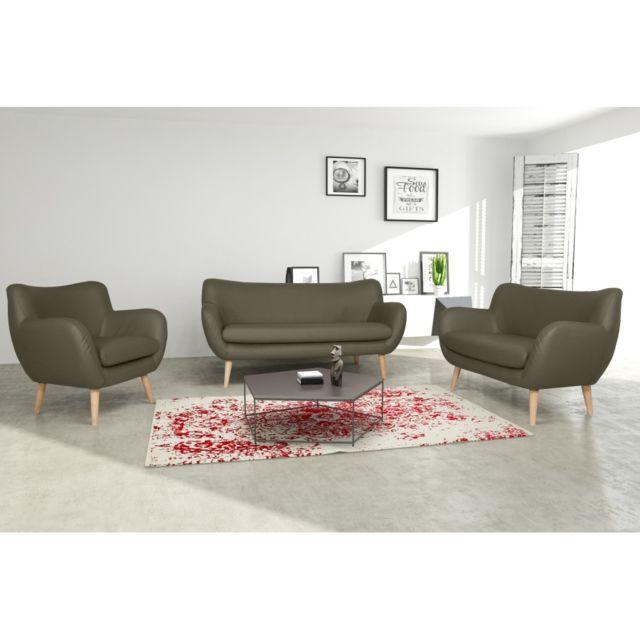 Rocambolesk Canapé Adele 3+2+1 Pu soft 24 taupe avec pieds naturels sofa divan
