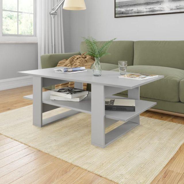 Vidaxl Table Basse Gris Aggloméré Table d'Appoint Salon Canapé Intérieur