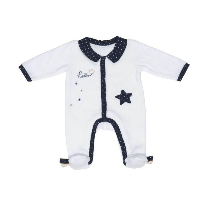 Sauthon - Pyjama velours blanc naissance Hello - pas cher Achat   Vente  Pyjamas 15c3c50e60e