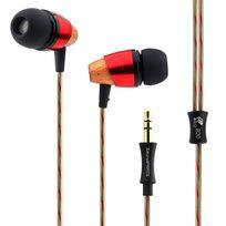 Alpexe - Ecouteurs intra-auriculaire en bois, oreillette filaire de Haute Définition, anti-bruit, basse lourds pour iPhone, iPod, iPad, Samsung Galaxy, lecteurs Mp3, etc. B20 Noir