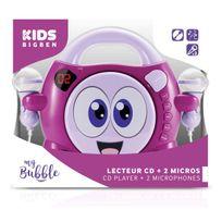 Bigben - Interactive - Lecteur Cd portable avec 2 micros -rose et violet avec Smiley