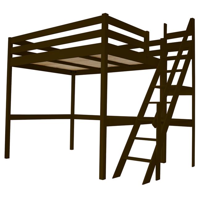 abc meubles - lit mezzanine sylvia avec escalier de meunier pin massif   vente