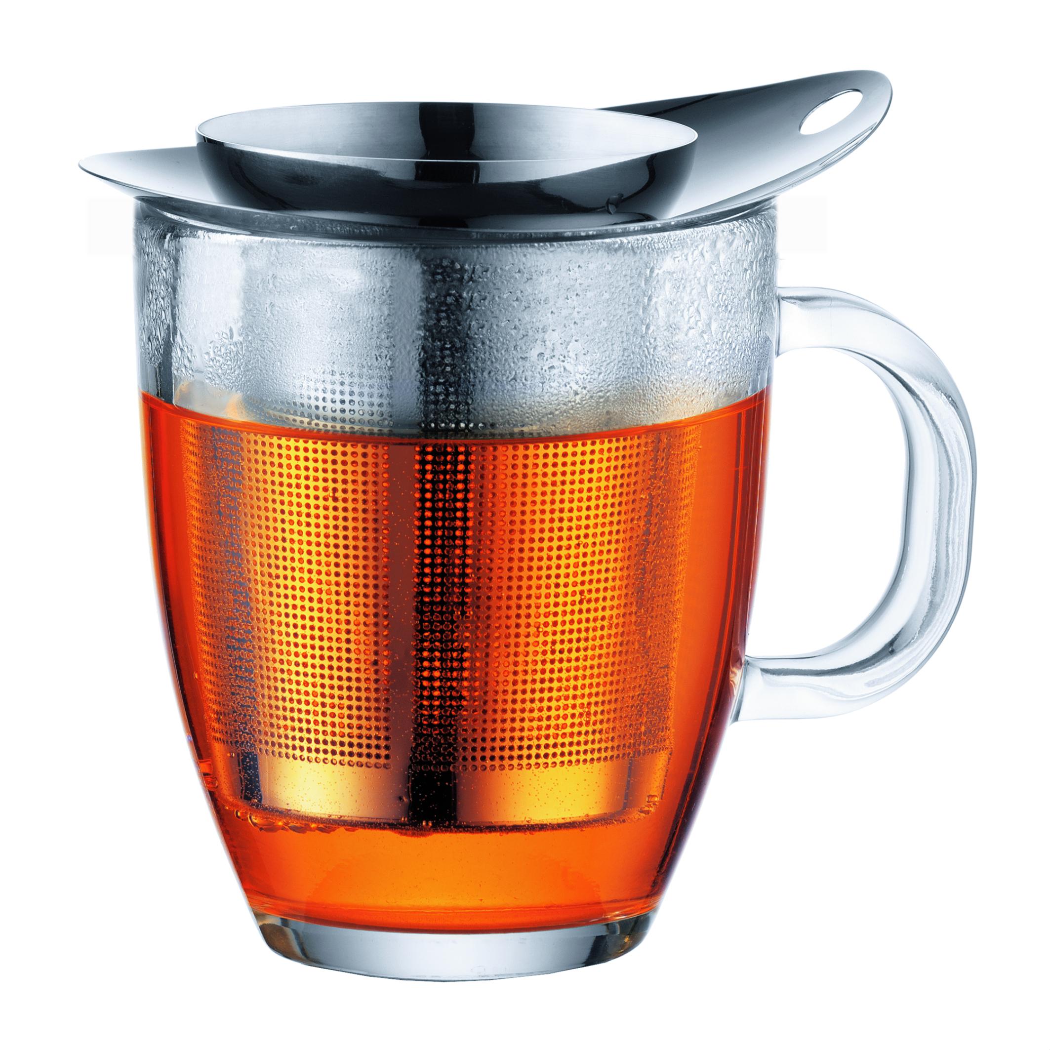 bodum - new yo-yo set set mug en verre, filtre en inox brillant