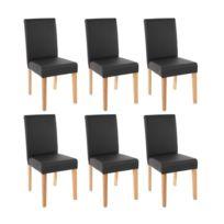 Lot de 6 chaises de salle à manger simili-cuir noir mat pieds clairs  Cds04236 598687dedd9f