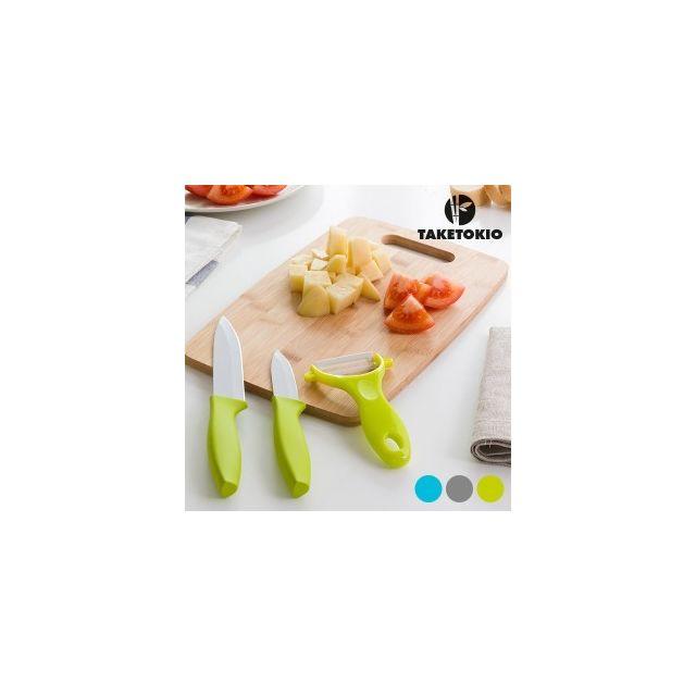 Taketokio Couteaux en Céramique avec Planche en Bambou 4 pièces, Couleur Gris