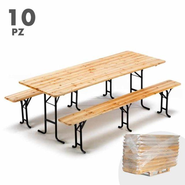 Wood Decor Table de brasserie bancs en bois 3 jambe