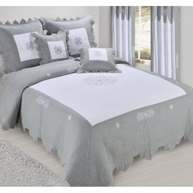 decor dautrefois couvre lit boutis 2 places chantilly gris blanc nc pas cher achat vente couvertures et plaids rueducommerce - Dessus De Lit Boutis