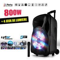 """Party Sound - Enceinte mobile amplifiée 800W 15"""" Led/USB/BT/SD/FM + Micro + 4 jeux de lumière LytOr"""