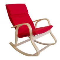 Decoshop26 - Fauteuil à bascule relaxation en bois clair coussin rouge Fab06005