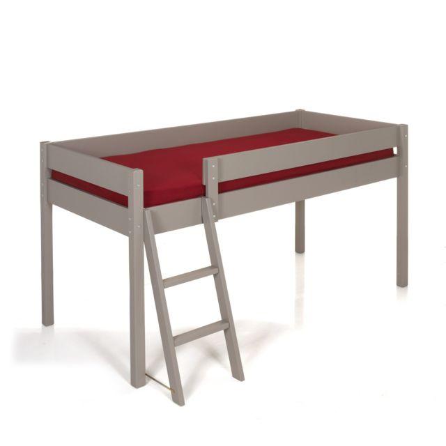 alin a lit enfant mi haut 90x200cm coloris taupe gris pas cher achat vente lit enfant. Black Bedroom Furniture Sets. Home Design Ideas