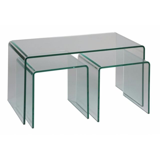 Inside 75 Lot de 3 tables basses Tanzanite en verre