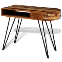 Vidaxl - Bureau en bois solide recyclé avec pieds broche fer