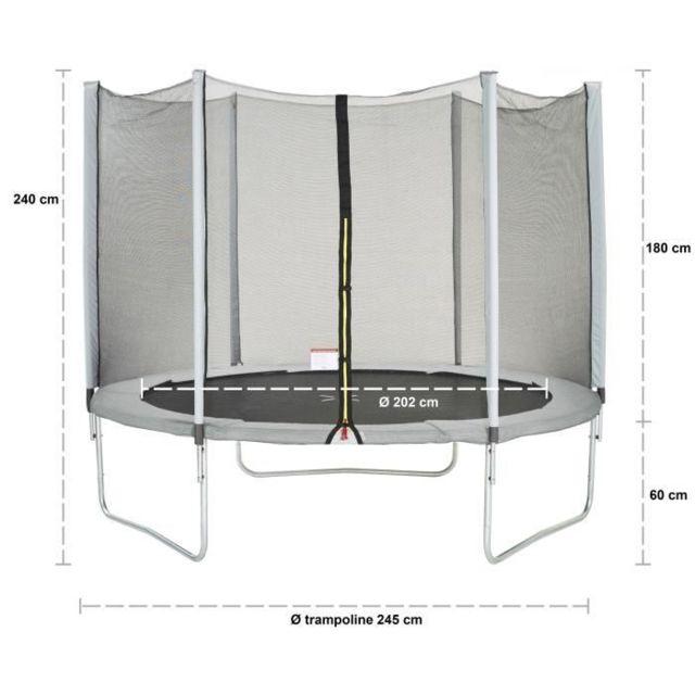 TRAMPOLINE Trampoline MAXI ECO Ø 250 cm Gris - Avec Filet