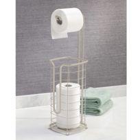 Interdesign - Serviteur wc en métal filaire gris avec dérouleur et réserve de papier H.61cm Forma