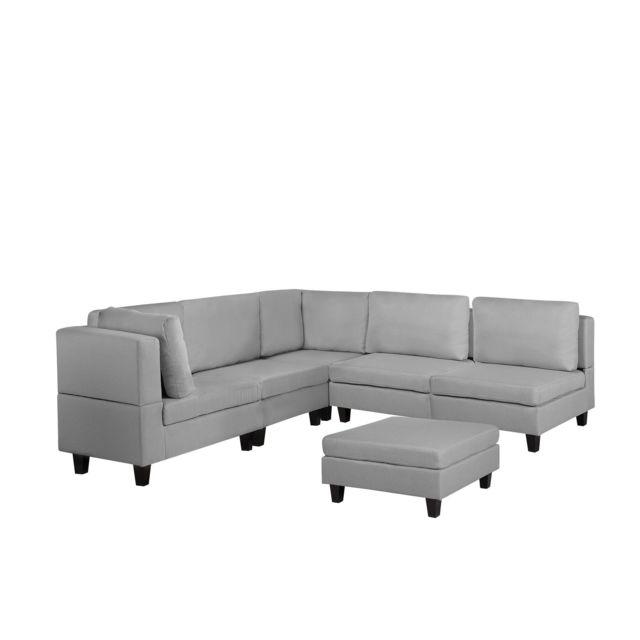 BELIANI Canapé angle modulable 5 places en tissu gris clair avec pouf ottoman FEVIK - gris clair