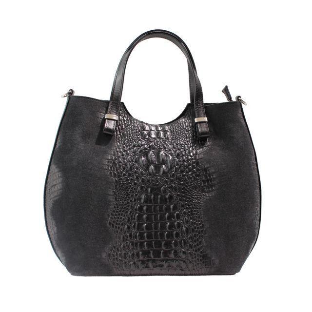 Oh My Bag Sac à main femme en cuir véritable et daim façon