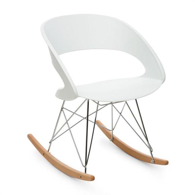 ONECONCEPT - Travolta Chaise à bascule rétro coque plastique dur   bois -  blanc NCcm x NCcm - pas cher Achat   Vente Chambre complète - RueDuCommerce 91cef6269ae5